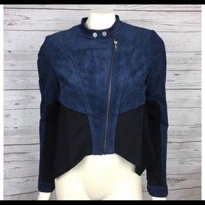 BCBG Logan suede motif jacket navy / black small